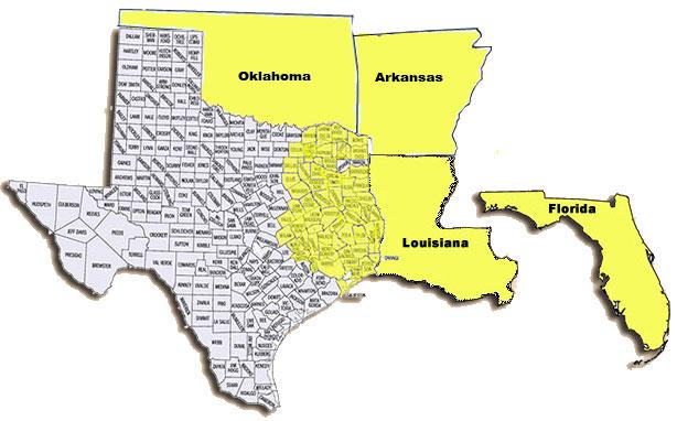 Map Of Texas Oklahoma And Louisiana.Territory Map Northeast Texas Power Ltd Cumby Tx 75433 903 994 4200
